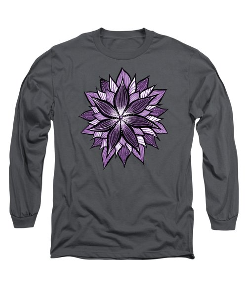 Purple Mandala Like Ink Drawn Abstract Flower Long Sleeve T-Shirt