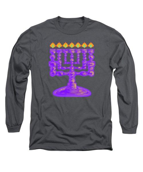 Purple Menorah Flamed Long Sleeve T-Shirt