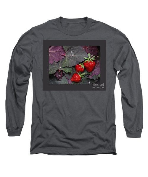 Purple Orach With Strawberries Long Sleeve T-Shirt by Patricia Overmoyer