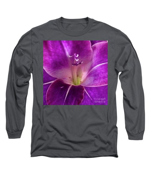 Long Sleeve T-Shirt featuring the photograph Purple Orchid Close Up by Kim Nelson