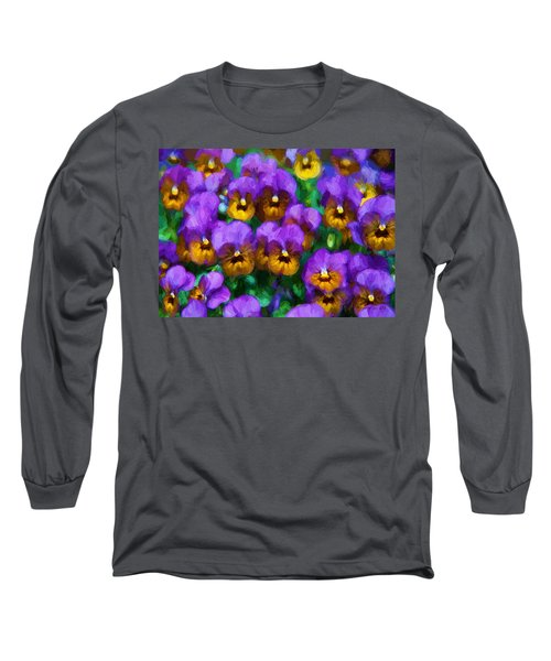 Purple Pansies Long Sleeve T-Shirt