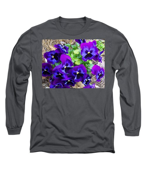 Long Sleeve T-Shirt featuring the photograph Purple Pansies by Sandi OReilly