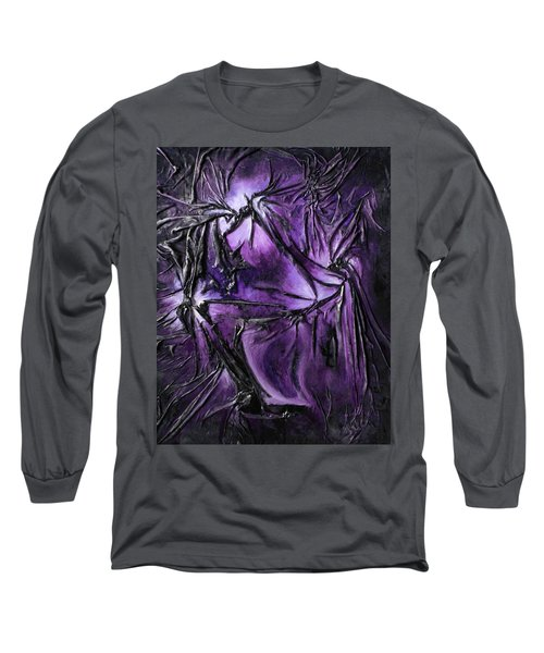 Long Sleeve T-Shirt featuring the mixed media Purple Pedals by Angela Stout