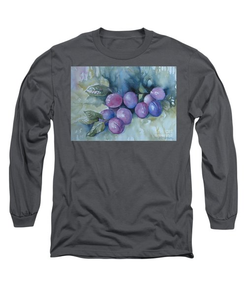 Long Sleeve T-Shirt featuring the painting Purple Plums by Elena Oleniuc