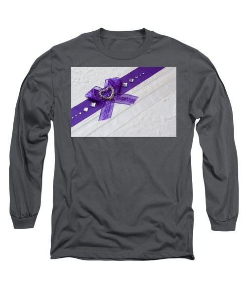 Purple Ribbon Heart Long Sleeve T-Shirt