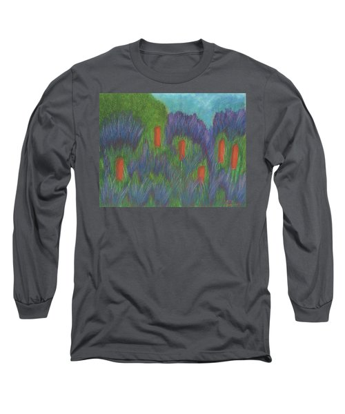 Purple Strife And Cattails Long Sleeve T-Shirt