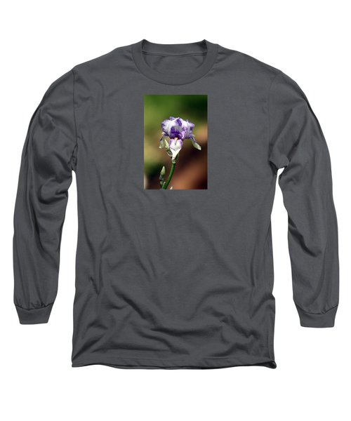 Long Sleeve T-Shirt featuring the photograph Purple Striped Bearded Iris by Sheila Brown