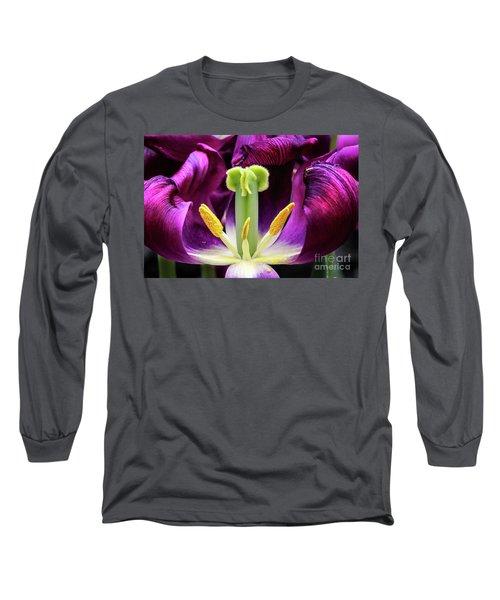 Purple Tulip Macro Long Sleeve T-Shirt