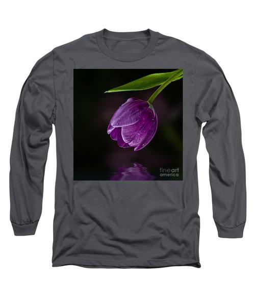 Purple Tulip Long Sleeve T-Shirt by Shirley Mangini