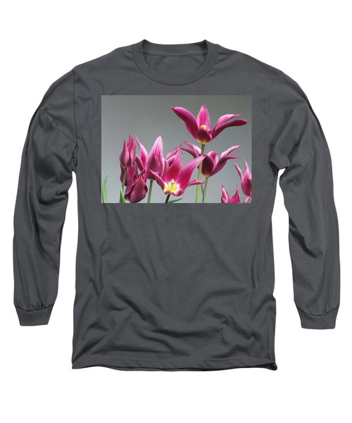 Purple Tulips Long Sleeve T-Shirt by Helen Northcott