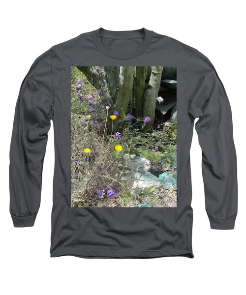 Purple Yellow Flowers Green Cactus Long Sleeve T-Shirt