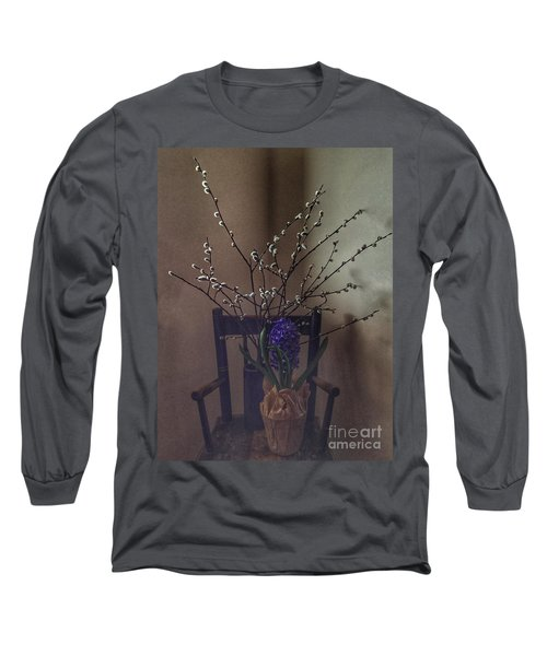 Pussy Willow And Hyacinth Still Life Long Sleeve T-Shirt