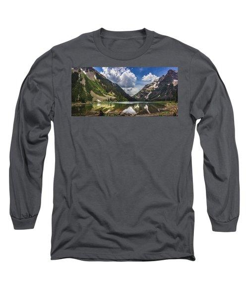 Pyramid Peak, Maroon Bells, And Crater Lake Panorama Long Sleeve T-Shirt