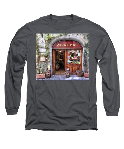 Quaint Restaurant In Florence Long Sleeve T-Shirt by Dave Mills