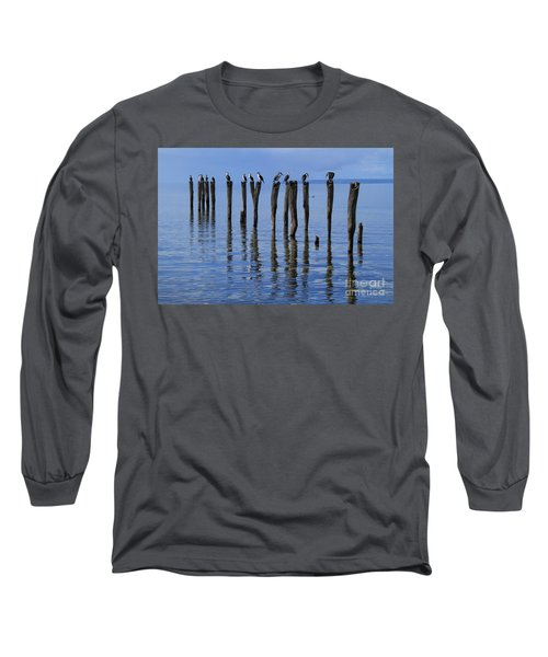 Long Sleeve T-Shirt featuring the photograph Queue Reflected by Stephen Mitchell