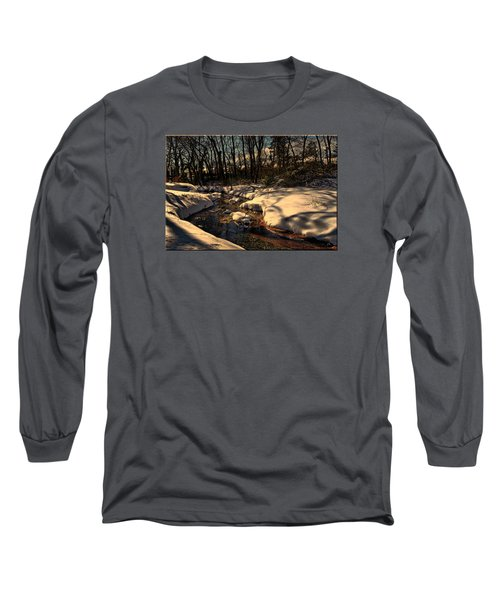 Quiet Brook On A Snowcovered Landscape Long Sleeve T-Shirt by Mikki Cucuzzo