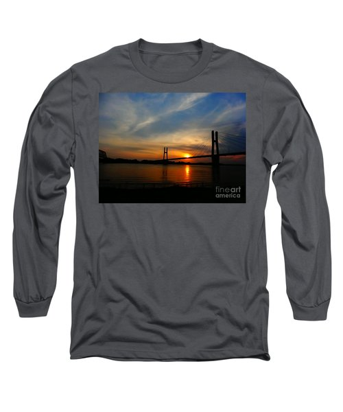 Quincy Bay View Bridge Sunset Long Sleeve T-Shirt by Justin Moore