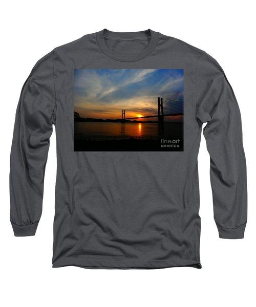 Quincy Bay View Bridge Sunset Long Sleeve T-Shirt