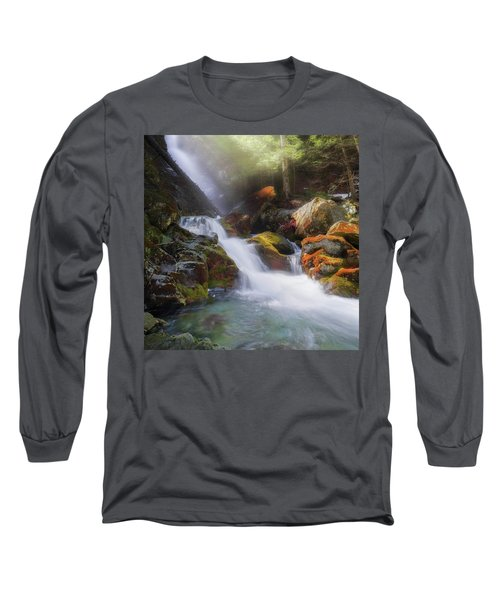 Long Sleeve T-Shirt featuring the photograph Race Brook Falls 2017 Square by Bill Wakeley