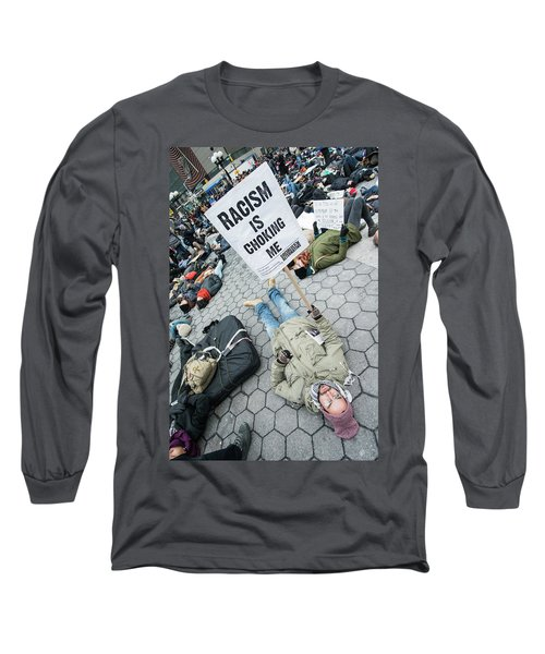 Long Sleeve T-Shirt featuring the photograph Racism Is Choking Me by Theodore Jones