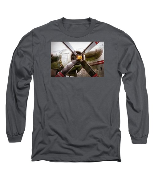 Long Sleeve T-Shirt featuring the photograph Radial Engine And Prop - Fairchild C-119 Flying Boxcar by Gary Heller