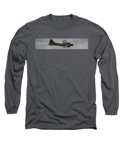 Raf Scampton 2017 - B-17 Flying Fortress Sally B Smoke Long Sleeve T-Shirt