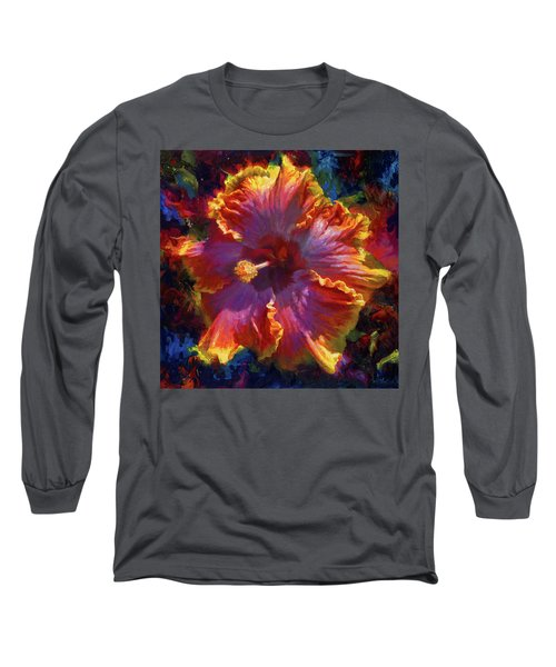 Rainbow Hibiscus Tropical Flower Wall Art Botanical Oil Painting Radiance  Long Sleeve T-Shirt