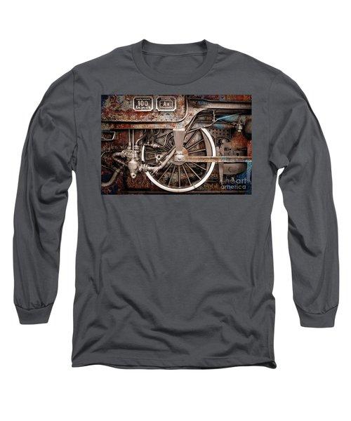 Rail Wheel Grunge Detail,  Steam Locomotive 06 Long Sleeve T-Shirt