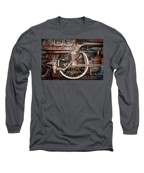 Rail Wheel Grunge Detail,  Steam Locomotive 06 Long Sleeve T-Shirt
