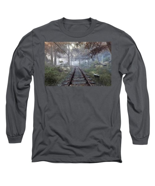 Long Sleeve T-Shirt featuring the digital art Rails To A Forgotten Place by Kai Saarto