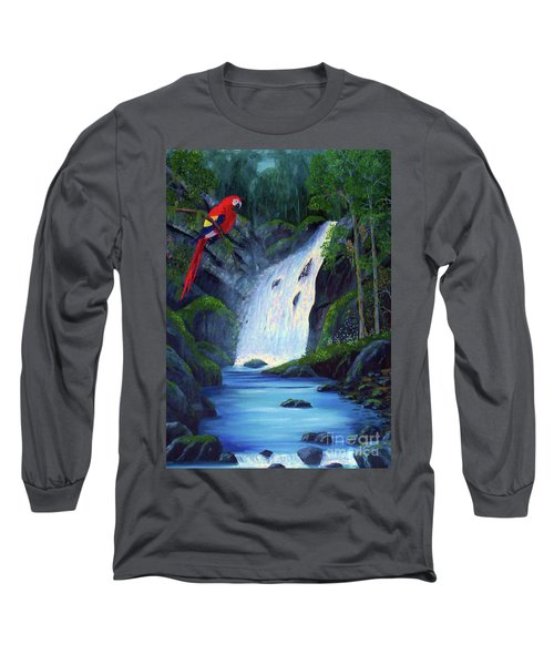 Rain Forest Macaws Long Sleeve T-Shirt by Stanton Allaben