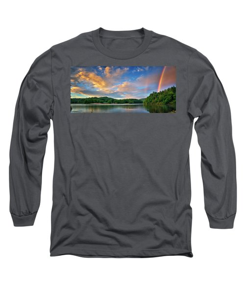 Rainbow At Linville Land Harbor Long Sleeve T-Shirt by Steve Hurt