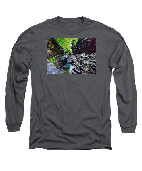 Rainbow Bridge And Falls Long Sleeve T-Shirt by Rodney Campbell