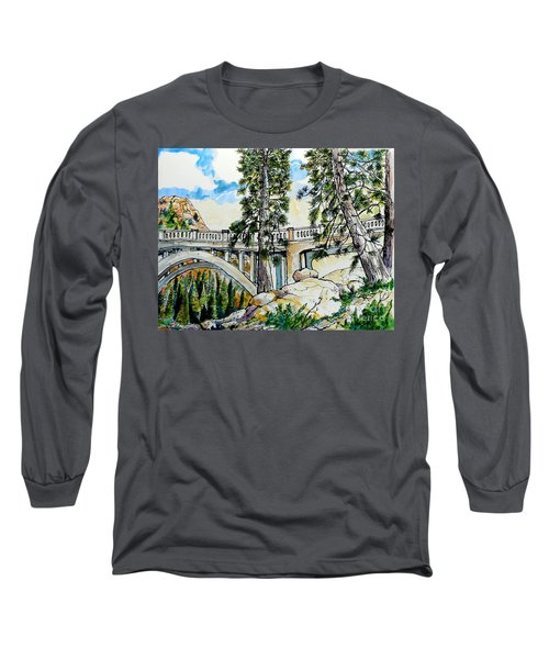 Long Sleeve T-Shirt featuring the painting Rainbow Bridge At Donner Summit by Terry Banderas
