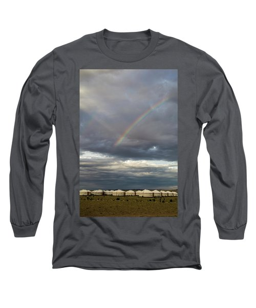 Long Sleeve T-Shirt featuring the photograph Rainbow Over Ger Camp, Gobi, 2016 by Hitendra SINKAR