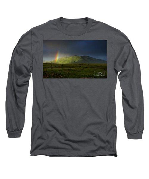Rainbow Over Mount Ara After Storm, Armenia Long Sleeve T-Shirt by Gurgen Bakhshetsyan