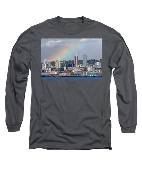 Rainbow Over Seattle Long Sleeve T-Shirt