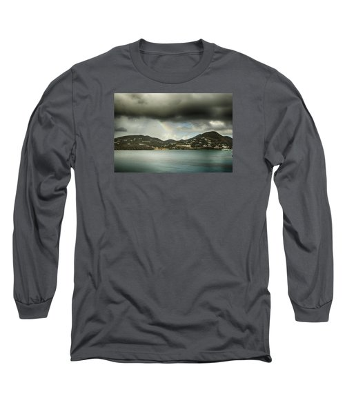 Long Sleeve T-Shirt featuring the photograph Rainbow Over St. Maarten by Coby Cooper