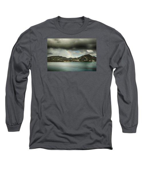 Rainbow Over St. Maarten Long Sleeve T-Shirt by Coby Cooper