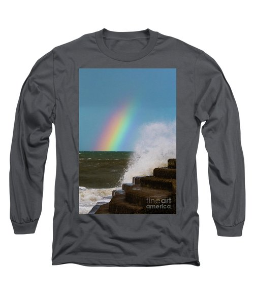 Rainbow Over The Crashing Waves Long Sleeve T-Shirt