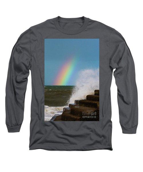 Rainbow Over The Crashing Waves Long Sleeve T-Shirt