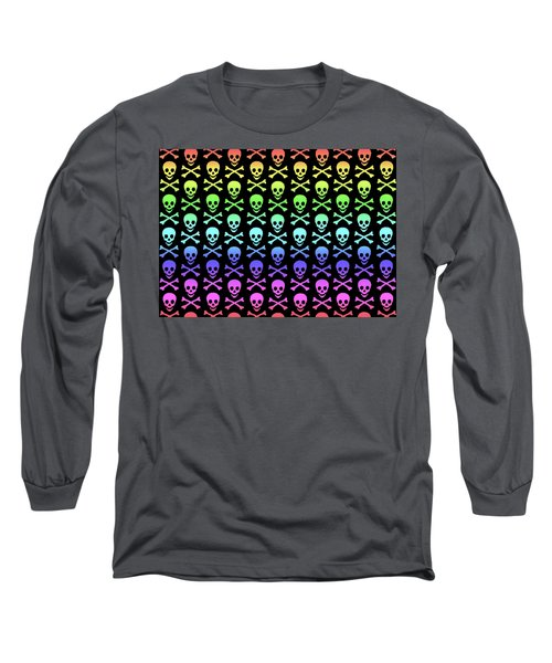 Rainbow Skull And Crossbones Long Sleeve T-Shirt by Roseanne Jones