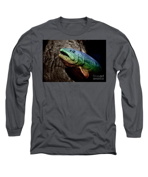 Long Sleeve T-Shirt featuring the photograph Rainbow Trout Wood Sculpture by John Stephens