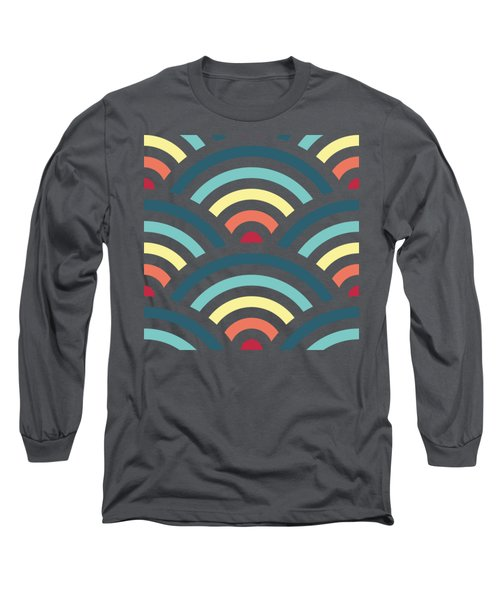 Rainbowaves Pattern Dark Long Sleeve T-Shirt by Freshinkstain