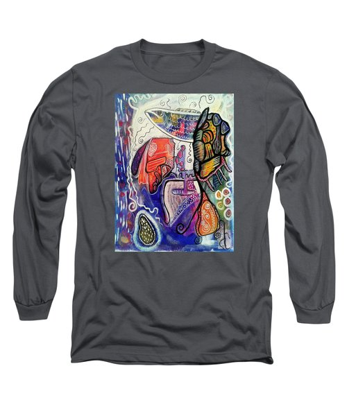 Long Sleeve T-Shirt featuring the painting Rainbowtrout by Mimulux patricia no No