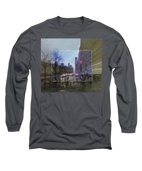 Rainy City Street Layered Long Sleeve T-Shirt