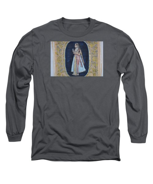 Long Sleeve T-Shirt featuring the painting Rajasthani Queen by Vikram Singh