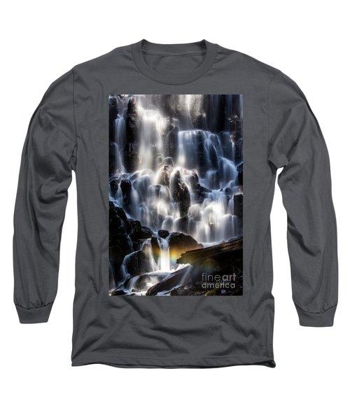 Ramona Falls With Rainbow Long Sleeve T-Shirt by Patricia Babbitt