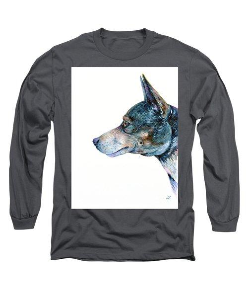 Long Sleeve T-Shirt featuring the painting Rat Terrier by Zaira Dzhaubaeva