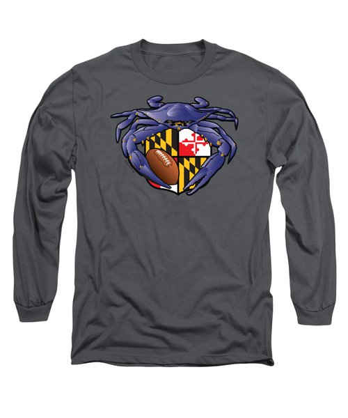 Raven Crab Football Maryland Crest Long Sleeve T-Shirt